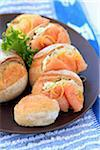 Small bread buns with smoked salmon and Fromage frais Stock Photo - Premium Royalty-Free, Artist: Photocuisine, Code: 652-05809637