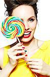 Beautiful brunette holding a lollipop Stock Photo - Premium Rights-Managed, Artist: urbanlip.com, Code: 847-05810117
