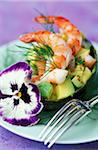 Avocado with prawns and pansies Stock Photo - Premium Rights-Managed, Artist: Photocuisine, Code: 825-05811604