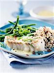 Cod fillet,wild rice and green beans Stock Photo - Premium Rights-Managed, Artist: Photocuisine, Code: 825-05811958