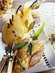 Capon with poached pears Stock Photo - Premium Rights-Managed, Artist: Photocuisine, Code: 825-05812070