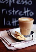 slate - Café latte with almond tuile biscuits Stock Photo - Premium Rights-Managednull, Code: 825-05812276