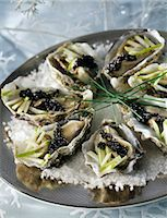 Oysters with caviar and sour apples Stock Photo - Premium Rights-Managednull, Code: 825-05812349