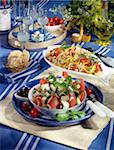 Haricot bean and langoustine salad and Greek salad Stock Photo - Premium Rights-Managed, Artist: Photocuisine, Code: 825-05812709