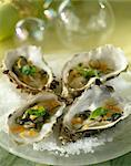 Oysters with diced carrots and basil Stock Photo - Premium Rights-Managed, Artist: Photocuisine, Code: 825-05813611