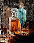 Decanter and glasses of vintage whisky Stock Photo - Premium Rights-Managed, Artist: Photocuisine, Code: 825-05813891