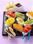 Fresh fruit sushis,rice with coconut Stock Photo - Premium Rights-Managed, Artist: Photocuisine, Code: 825-05815600