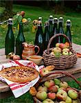 Normandy atmosphere :apples,apple tart and cider on a table outdoors Stock Photo - Premium Rights-Managed, Artist: Photocuisine, Code: 825-05815679