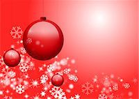 snowflakes  holiday - Christmas ornaments and snowflakes on red background Stock Photo - Premium Royalty-Freenull, Code: 632-05817161