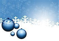snowflakes  holiday - Christmas ornaments and snowflakes on blue background Stock Photo - Premium Royalty-Freenull, Code: 632-05817183