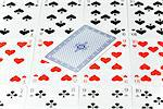 Row of playing cards with on card upside down Stock Photo - Premium Royalty-Free, Artist: Beth Dixson, Code: 628-05817360