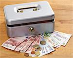 Money in front of a cash box Stock Photo - Premium Royalty-Free, Artist: AWL Images, Code: 628-05817408
