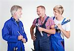 Three happy craftsmen of different age Stock Photo - Premium Royalty-Free, Artist: Andrew Kolb, Code: 628-05817681