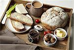 Breakfast tray of bread, jam and coffee Stock Photo - Premium Royalty-Free, Artist: Cultura RM, Code: 649-05820324