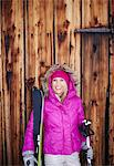 Woman standing with skis and poles Stock Photo - Premium Royalty-Free, Artist: Ron Fehling, Code: 649-05821116