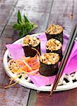 Wholemeal rice and smoked tofu Nori rolls Stock Photo - Premium Rights-Managed, Artist: Photocuisine, Code: 825-05836030