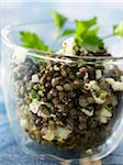 Warm lentil salad with feta and shallots Stock Photo - Premium Rights-Managed, Artist: Photocuisine, Code: 825-05837090