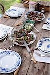 Grilled eggplants with tomato and basil,marinated harrings Stock Photo - Premium Rights-Managed, Artist: Photocuisine, Code: 825-05837179