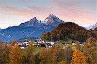 small town snow - Watzmann Mountain at Dawn, Berchtesgaden, Bavaria, Germany Stock Photo - Premium Rights-Managednull, Code: 700-05837534