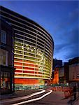 Curve Theatre, Leicester. Exterior at night. Architects: Raphael Vinoly Architects Stock Photo - Premium Rights-Managed, Artist: Arcaid, Code: 845-05837708