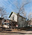 View of semi-derilict wooden house in the former ghost-town of Madrid, New Mexico. Stock Photo - Premium Rights-Managed, Artist: Arcaid, Code: 845-05838347
