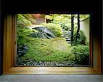 View through doorway to oriental style garden Stock Photo - Premium Rights-Managed, Artist: Arcaid, Code: 845-05838917