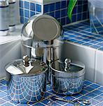 Chrome bathroom accessory storage pots Stock Photo - Premium Rights-Managed, Artist: Arcaid, Code: 845-05838947