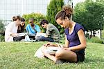Young woman reading book on grass, group of young people in background Stock Photo - Premium Royalty-Free, Artist: Kevin Dodge, Code: 632-05845523