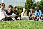 University students studying on grass outdoors, low angle view Stock Photo - Premium Royalty-Free, Artist: Kevin Dodge, Code: 632-05845742