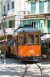 Colourful tram in Placa Constitucio, Soller, Mallorca, Balearic Islands, Spain, Mediterranean, Europe Stock Photo - Premium Rights-Managed, Artist: Robert Harding Images, Code: 841-05845891