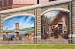 Roebling mural by Robert Dafford on the Ohio River levee, Covington, Kentucky, United States of America, North America Stock Photo - Premium Rights-Managed, Artist: Robert Harding Images, Code: 841-05846248