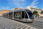 Tram passing through Place Massena, Nice, Alpes Maritimes, Provence, Cote d'Azur, French Riviera, France, Europe Stock Photo - Premium Rights-Managed, Artist: Robert Harding Images, Code: 841-05846383