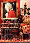 Christmas and Mozart decoration in shop window, Salzburg, Austria, Europe