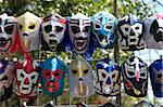 Masks worn by Lucha Libre professional wrestlers, Mexico City, Mexico, North America Stock Photo - Premium Rights-Managed, Artist: Robert Harding Images, Code: 841-05846681