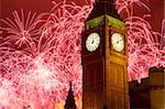 New Year fireworks and Big Ben, Houses of Parliament, Westminster, London, England, United Kingdom, Europe Stock Photo - Premium Rights-Managed, Artist: Robert Harding Images, Code: 841-05848351