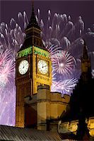 New Year fireworks and Big Ben, Houses of Parliament, Westminster, London, England, United Kingdom, Europe Stock Photo - Premium Rights-Managednull, Code: 841-05848354