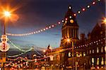 Town Hall and Christmas lights on The Headrow, Leeds, West Yorkshire, Yorkshire, England, United Kingdom, Europe Stock Photo - Premium Rights-Managed, Artist: Robert Harding Images, Code: 841-05848469
