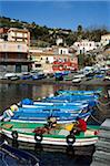 View over fishing harbour, Santa Maria La Scala, Sicily, Italy, Mediterranean, Europe Stock Photo - Premium Rights-Managed, Artist: Robert Harding Images, Code: 841-05848639