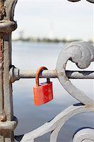 Close-Up of Love Lock on Bridge Stock Photo - Premium Rights-Managednull, Code: 700-05854184