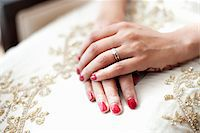 ring hand woman - Bride with Hands on Lap Stock Photo - Premium Rights-Managednull, Code: 700-05855237