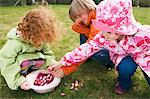 3 children in garden with Easter eggs Stock Photo - Premium Royalty-Free, Artist: Ikon Images, Code: 6108-05856084