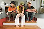 2 teenage girls and 1 teenage boy looking sullen Stock Photo - Premium Royalty-Free, Artist: Kablonk! RM, Code: 6108-05857747