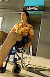 Mid adult man sitting in a wheelchair in front of a restroom entrance Stock Photo - Premium Royalty-Free, Artist: CulturaRM, Code: 6108-05860446