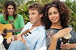 Friends playing musical instruments Stock Photo - Premium Royalty-Freenull, Code: 6108-05863666