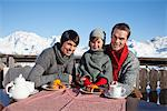Couple and daughter eating on balcony at ski resort Stock Photo - Premium Royalty-Free, Artist: I Dream Stock, Code: 6108-05866791