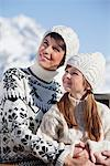 Mother and daughter on balcony at ski resort Stock Photo - Premium Royalty-Free, Artist: AlaskaStock, Code: 6108-05866803