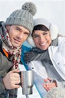 Young couple in ski wear resting Stock Photo - Premium Royalty-Freenull, Code: 6108-05866909