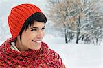 Young woman in winter clothes smiling Stock Photo - Premium Royalty-Free, Artist: Robert Harding Images, Code: 6108-05867109