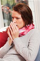 people coughing or sneezing - Young woman coughing Stock Photo - Premium Royalty-Freenull, Code: 6108-05868993