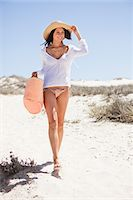 Young woman walking on the beach Stock Photo - Premium Royalty-Freenull, Code: 6108-05872426